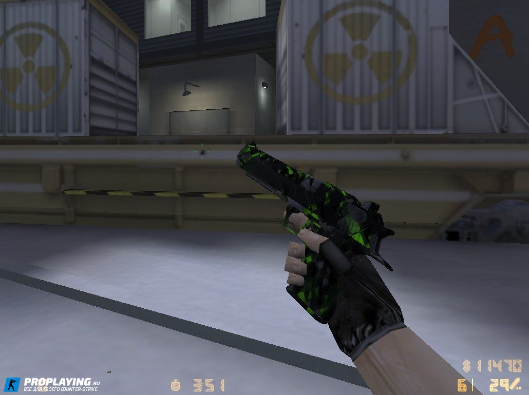 Модель Deagle «Black Green Cube» для CS 1.6 с осмотром